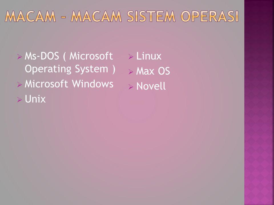 MMs-DOS ( Microsoft Operating System ) MMicrosoft Windows UUnix LLinux MMax OS NNovell