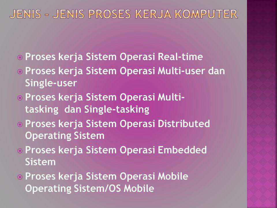  Proses kerja Sistem Operasi Real-time  Proses kerja Sistem Operasi Multi-user dan Single-user  Proses kerja Sistem Operasi Multi- tasking dan Sing