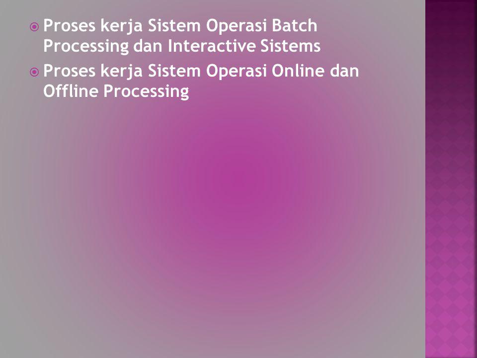  Proses kerja Sistem Operasi Batch Processing dan Interactive Sistems  Proses kerja Sistem Operasi Online dan Offline Processing
