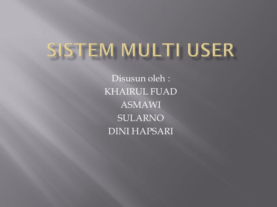  Multiuser atau Multipengguna atau Pengguna ganda adalah istilah dalam sistem operasi atau perangkat lunak aplikasi yang memperbolehkan akses oleh beberapa pengguna dalam waktu bersamaan ke sistem operasi atau aplikasi tersebut.