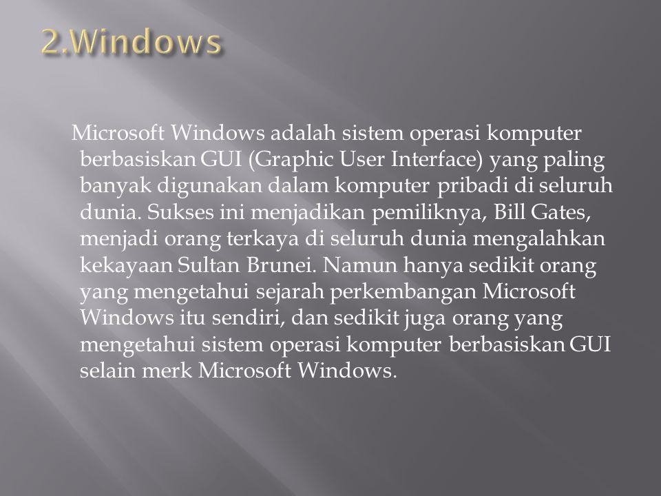 Microsoft Windows adalah sistem operasi komputer berbasiskan GUI (Graphic User Interface) yang paling banyak digunakan dalam komputer pribadi di seluruh dunia.
