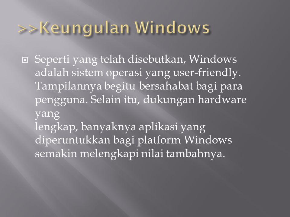 SSeperti yang telah disebutkan, Windows adalah sistem operasi yang user-friendly. Tampilannya begitu bersahabat bagi para pengguna. Selain itu, duku