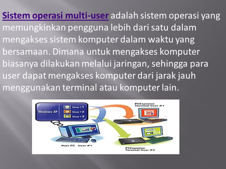 Sistem operasi multi-userSistem operasi multi-user adalah sistem operasi yang memungkinkan pengguna lebih dari satu dalam mengakses sistem komputer da