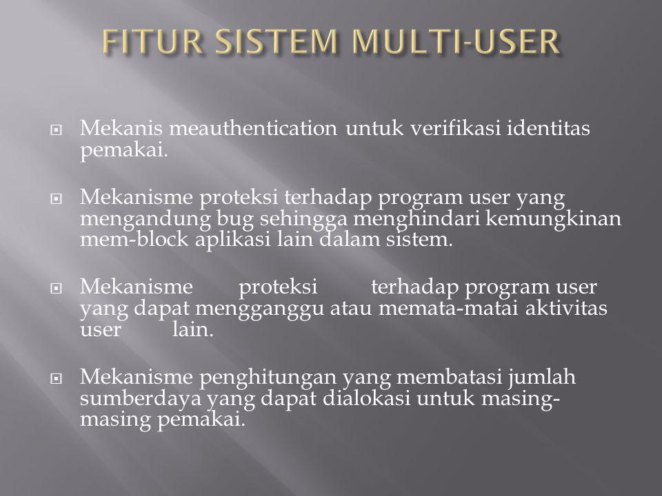  Mekanis meauthentication untuk verifikasi identitas pemakai.  Mekanisme proteksi terhadap program user yang mengandung bug sehingga menghindari kem