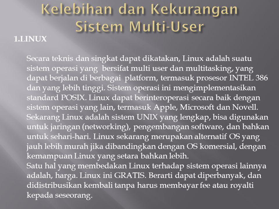 1.LINUX Secara teknis dan singkat dapat dikatakan, Linux adalah suatu sistem operasi yang bersifat multi user dan multitasking, yang dapat berjalan di