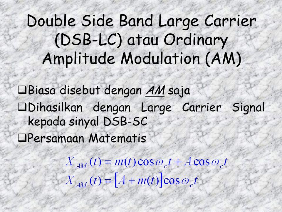 Syarat Penting Dalam Demodulasi Sinyal DSB-SC  Local Oscillator harus menghasilkan sinyal cos ω c t yang frequency dan phasa nya sama dengan yang dih