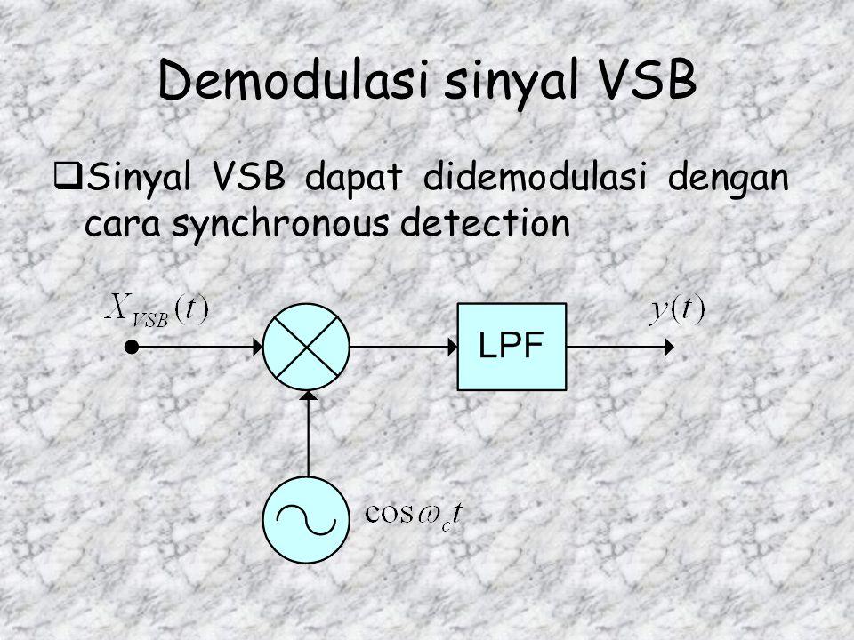 Pembuatan Sinyal VSB  Sinyal VSB dapat dibangkitkan dengan proses seperti terlihat pada diagram blok berikut