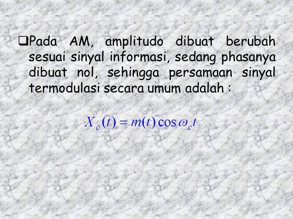  Amplitudo sinyal carrier dibuat berubah-ubah secara proporsional sesuai perubahan yang terjadi pada sinyal pemodulasi (sinyal informasi)  Persamaan