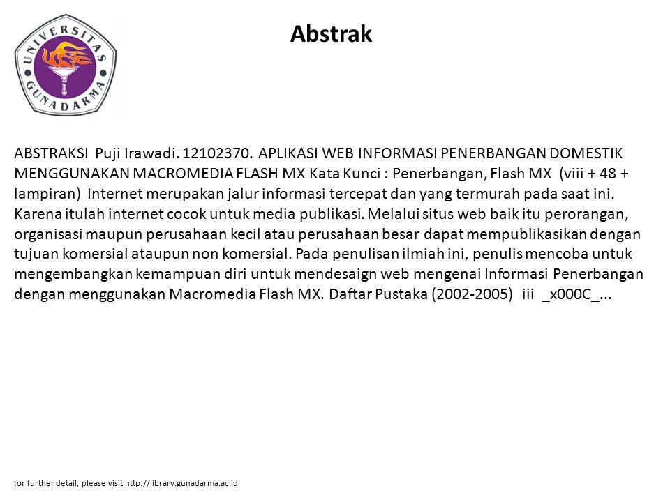 Abstrak ABSTRAKSI Puji Irawadi. 12102370.