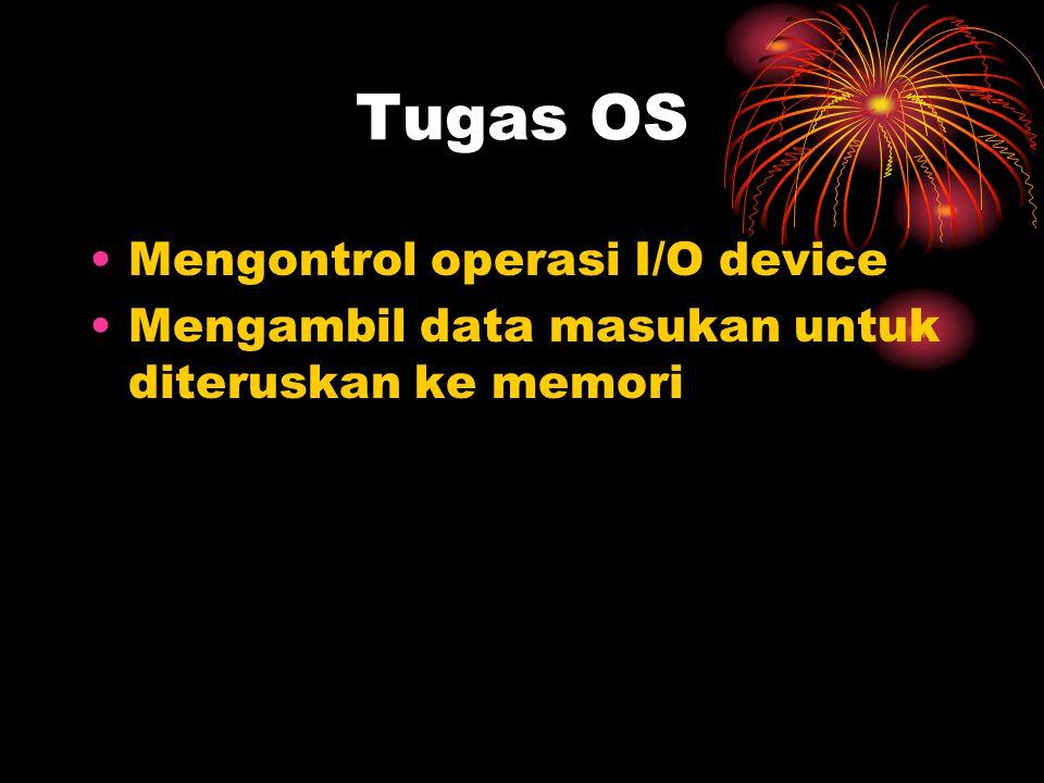 Tugas OS Mengontrol operasi I/O device Mengambil data masukan untuk diteruskan ke memori