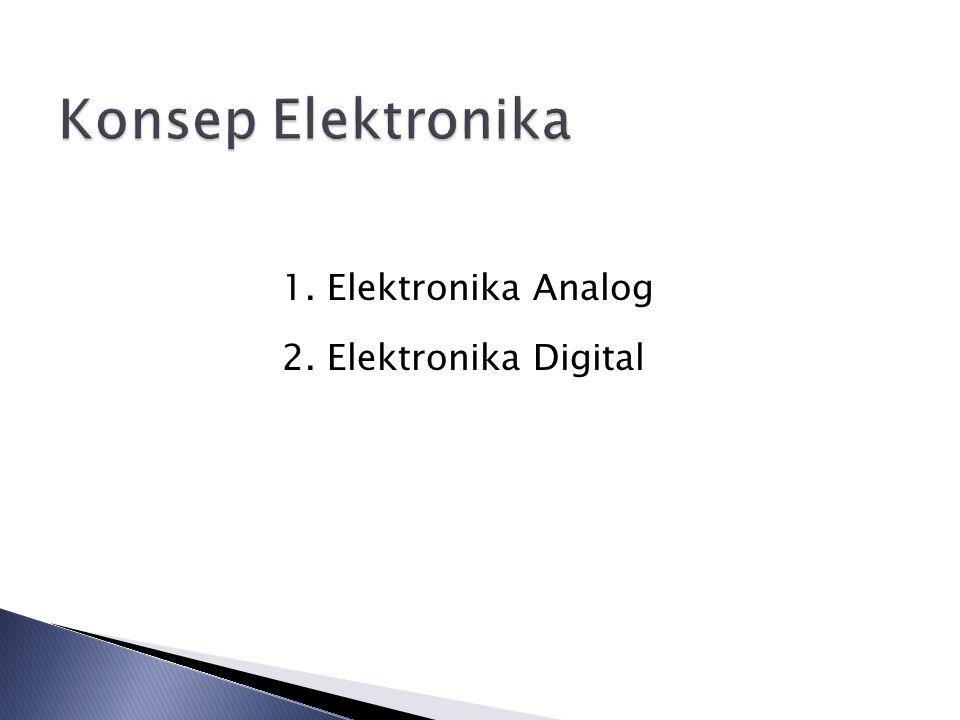 Elektronika Analog Elektronika analog ialah bidang elektronika dimana sinyal listrik yang terlibat bersifat kontinue, sedangkan komponen yang digunakan umumnya disebut komponen diskrit.