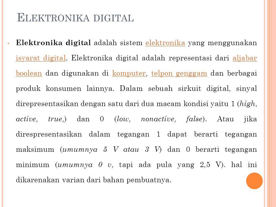 Alat dengan konsep elektronika digital  Jam tangan digital  Alat musik: sampler, squencer, groovebox, dll  Menghitung dengan kalkulator, komputer, dll  Komputer modern