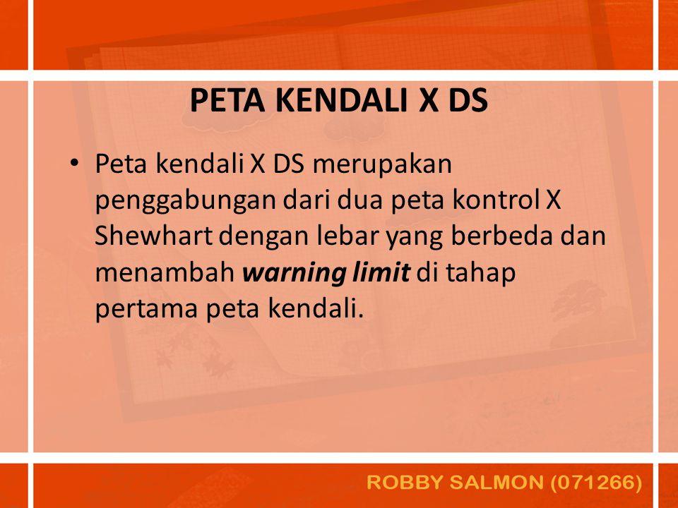 PETA KENDALI X DS Peta kendali X DS merupakan penggabungan dari dua peta kontrol X Shewhart dengan lebar yang berbeda dan menambah warning limit di ta