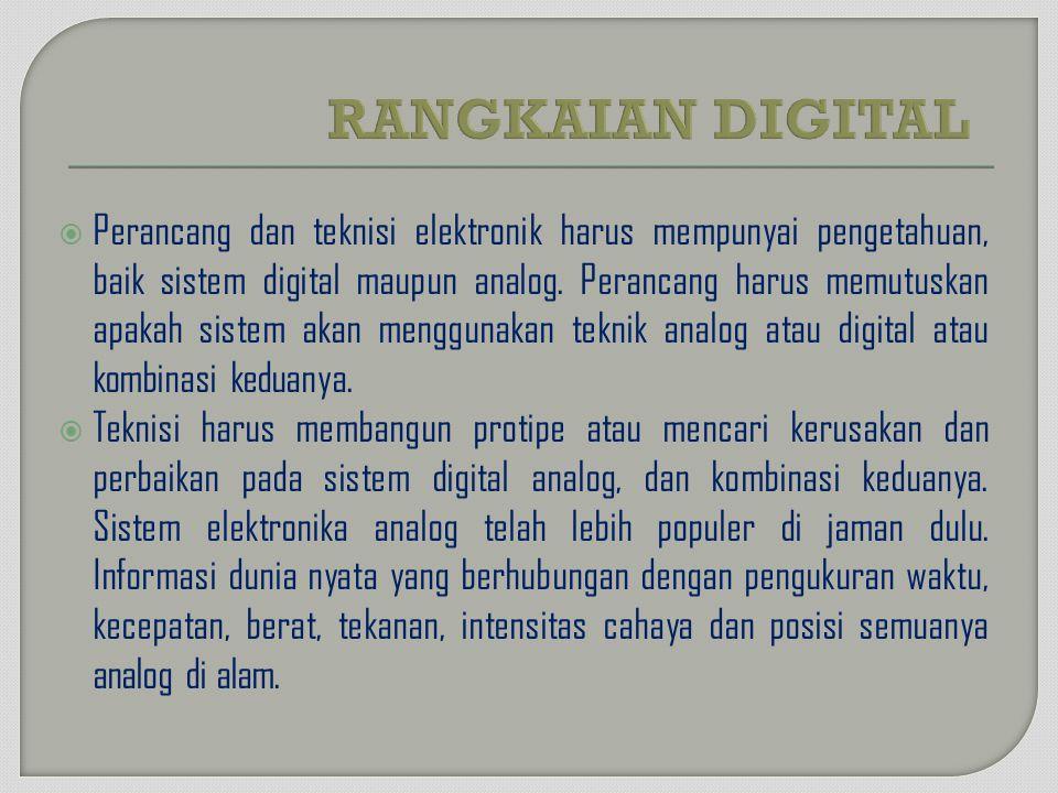  Perancang dan teknisi elektronik harus mempunyai pengetahuan, baik sistem digital maupun analog. Perancang harus memutuskan apakah sistem akan mengg