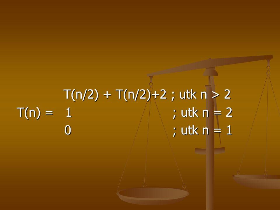 T(n/2) + T(n/2)+2 ; utk n > 2 T(n/2) + T(n/2)+2 ; utk n > 2 T(n) = 1 ; utk n = 2 0 ; utk n = 1 0 ; utk n = 1