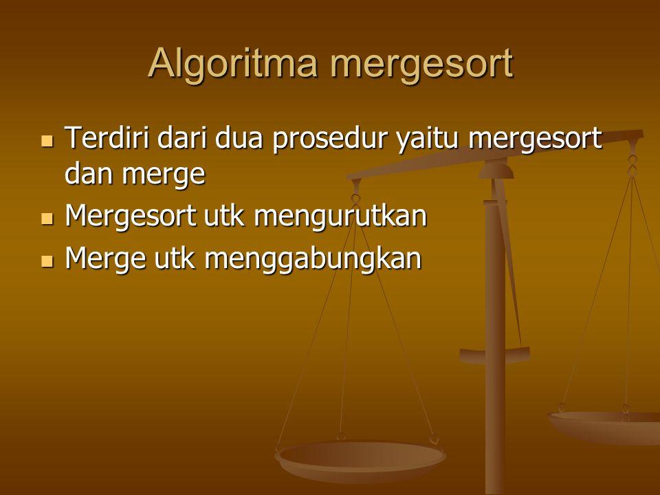 Algoritma mergesort Terdiri dari dua prosedur yaitu mergesort dan merge Terdiri dari dua prosedur yaitu mergesort dan merge Mergesort utk mengurutkan