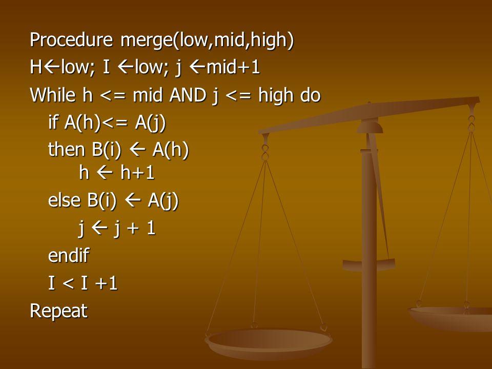 Procedure merge(low,mid,high) H  low; I  low; j  mid+1 While h <= mid AND j <= high do if A(h)<= A(j) then B(i)  A(h) h  h+1 else B(i)  A(j) j 