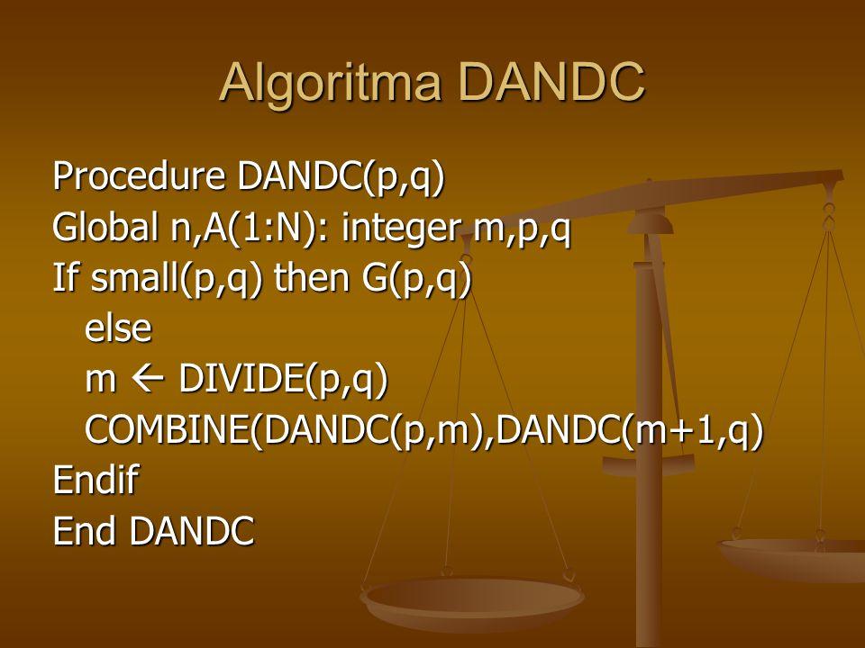 Algoritma DANDC Procedure DANDC(p,q) Global n,A(1:N): integer m,p,q If small(p,q) then G(p,q) else m  DIVIDE(p,q) COMBINE(DANDC(p,m),DANDC(m+1,q)Endi