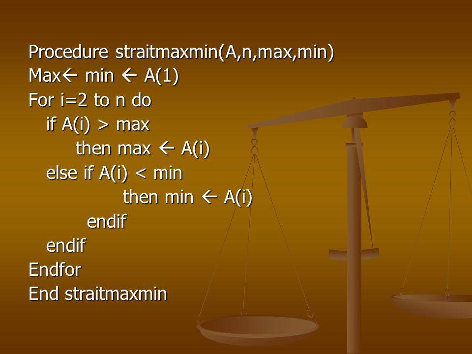 Procedure straitmaxmin(A,n,max,min) Max  min  A(1) For i=2 to n do if A(i) > max then max  A(i) else if A(i) < min then min  A(i) endif endifendif