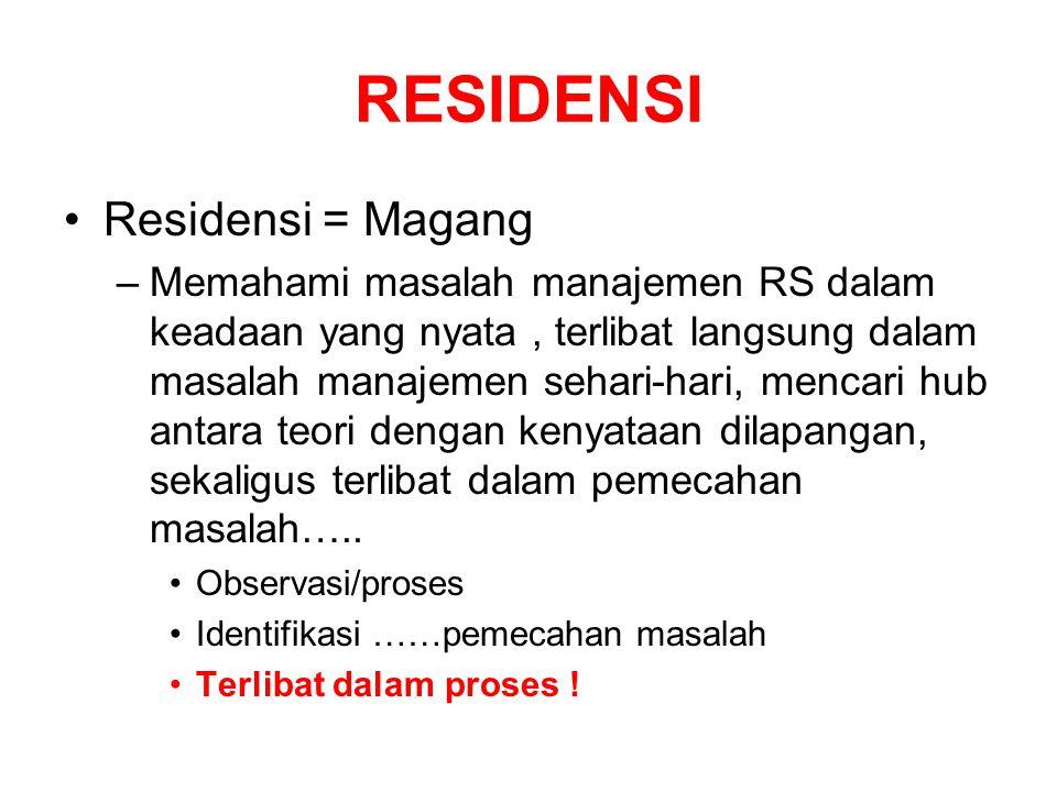 RESIDENSI Residensi = Magang –Memahami masalah manajemen RS dalam keadaan yang nyata, terlibat langsung dalam masalah manajemen sehari-hari, mencari h