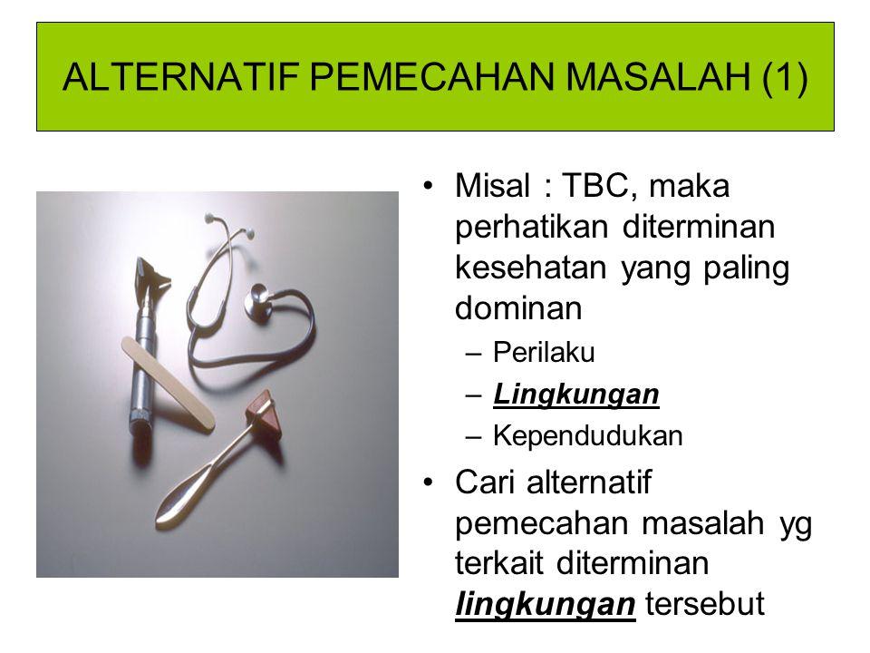ALTERNATIF PEMECAHAN MASALAH (1) Misal : TBC, maka perhatikan diterminan kesehatan yang paling dominan –Perilaku –Lingkungan –Kependudukan Cari altern