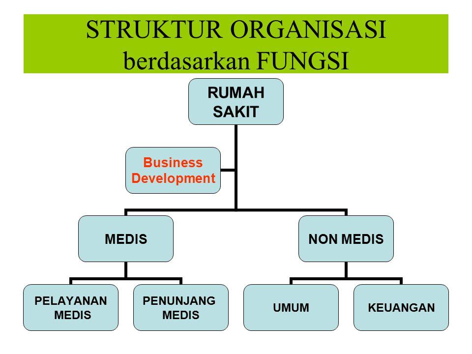 STRUKTUR ORGANISASI berdasarkan FUNGSI RUMAH SAKIT MEDIS PELAYANAN MEDIS PENUNJANG MEDIS NON MEDIS UMUMKEUANGAN Business Development