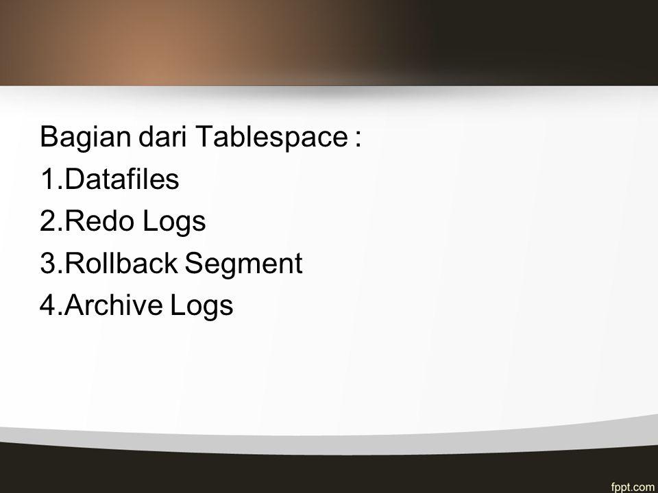 Bagian dari Tablespace : 1.Datafiles 2.Redo Logs 3.Rollback Segment 4.Archive Logs