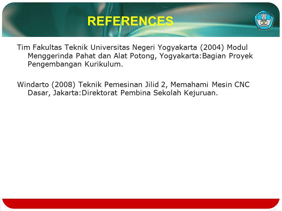 REFERENCES Tim Fakultas Teknik Universitas Negeri Yogyakarta (2004) Modul Menggerinda Pahat dan Alat Potong, Yogyakarta:Bagian Proyek Pengembangan Kurikulum.