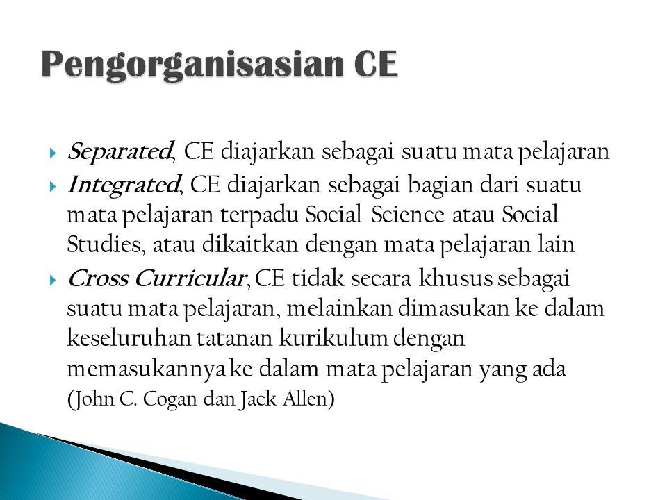 Separated, CE diajarkan sebagai suatu mata pelajaran  Integrated, CE diajarkan sebagai bagian dari suatu mata pelajaran terpadu Social Science atau
