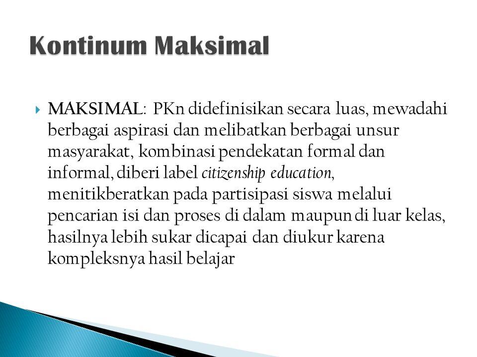  MAKSIMAL : PKn didefinisikan secara luas, mewadahi berbagai aspirasi dan melibatkan berbagai unsur masyarakat, kombinasi pendekatan formal dan infor