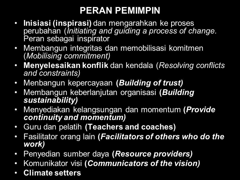 PERAN PEMIMPIN Inisiasi (inspirasi) dan mengarahkan ke proses perubahan (Initiating and guiding a process of change.