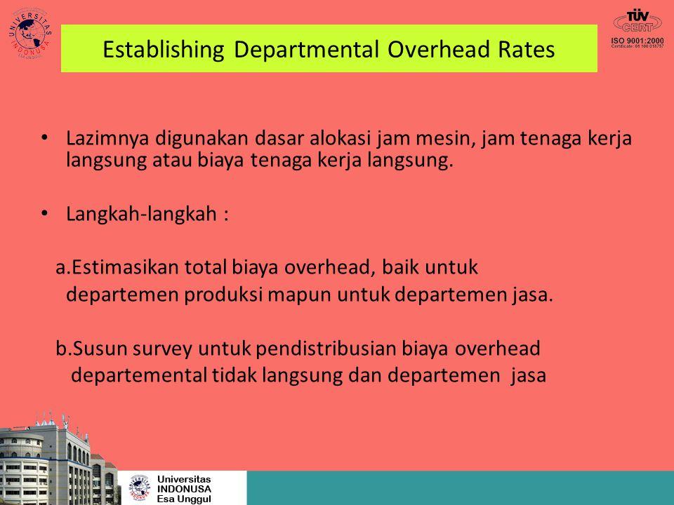 Establishing Departmental Overhead Rates Lazimnya digunakan dasar alokasi jam mesin, jam tenaga kerja langsung atau biaya tenaga kerja langsung. Langk
