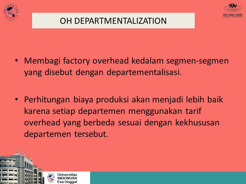 OH DEPARTMENTALIZATION Membagi factory overhead kedalam segmen-segmen yang disebut dengan departementalisasi. Perhitungan biaya produksi akan menjadi