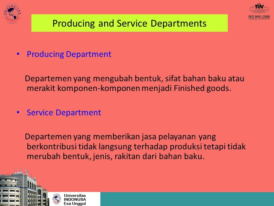 Producing and Service Departments Producing Department Departemen yang mengubah bentuk, sifat bahan baku atau merakit komponen-komponen menjadi Finish
