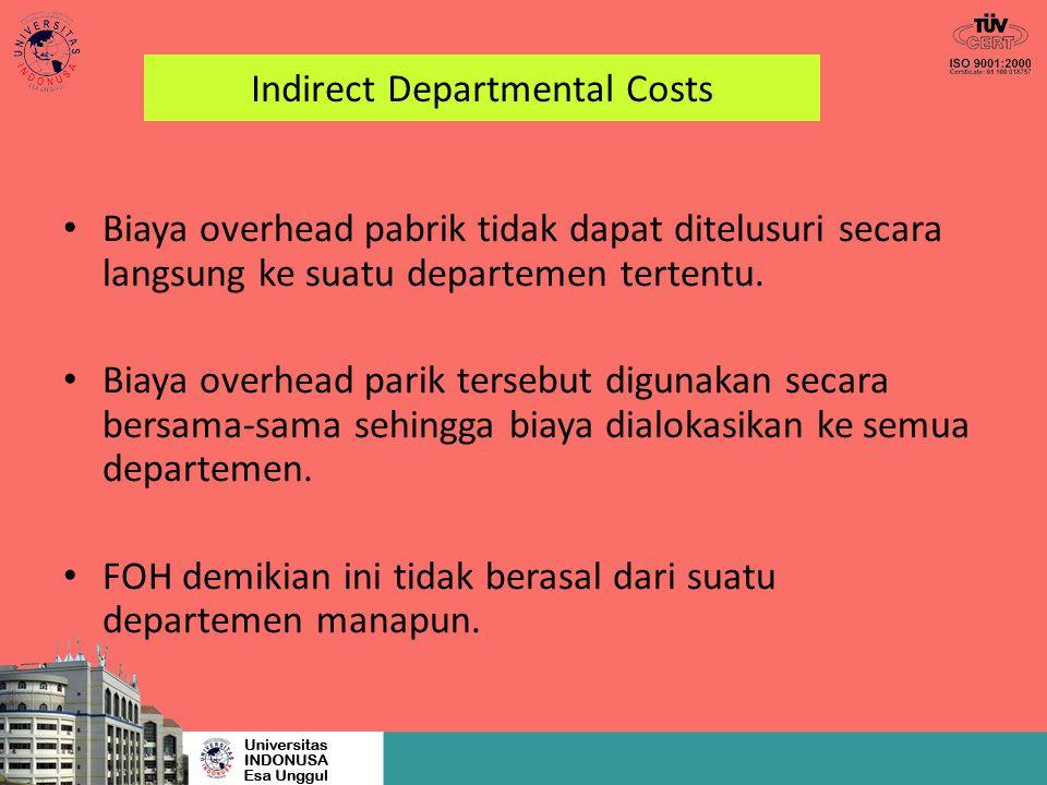 Indirect Departmental Costs Biaya overhead pabrik tidak dapat ditelusuri secara langsung ke suatu departemen tertentu. Biaya overhead parik tersebut d