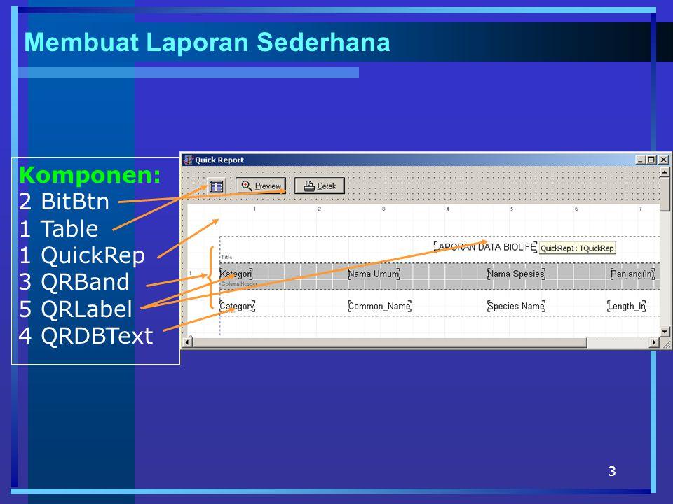 4 Table1DatabaseName TableName Active DBDEMOS BioLife.db True QuickRepDataSetTable1 QRBand1BandTyperbTitle QRLabel1CaptionLaporan Data biolife QRBand2BandType Color Frame-> DrawButton,DrawTop rbColumnHeader clSilver True QRLabel1-4Caption Color Kategori, nama Umum, Nama Spesies, Panjang (ln) clSilver QRBand3BandTyperbDetail QRDBtextDataSet DataField Length_ln->mask Alignment Table1 Category,Commond_Name,S pecies_Name, Length_ln ##0.00.
