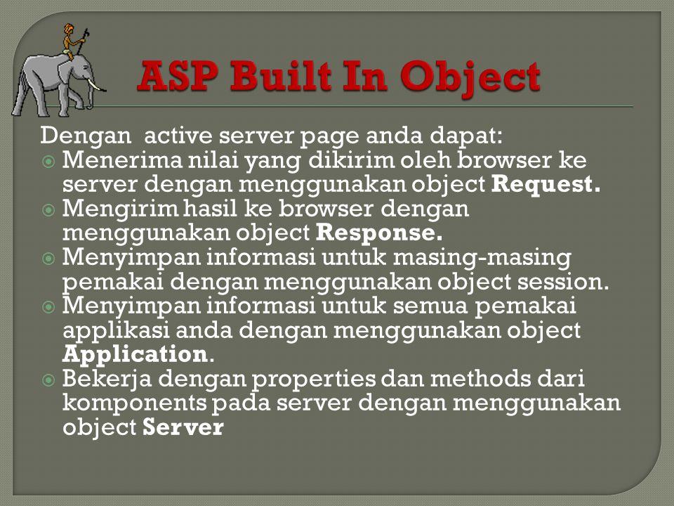 Dengan active server page anda dapat:  Menerima nilai yang dikirim oleh browser ke server dengan menggunakan object Request.  Mengirim hasil ke brow