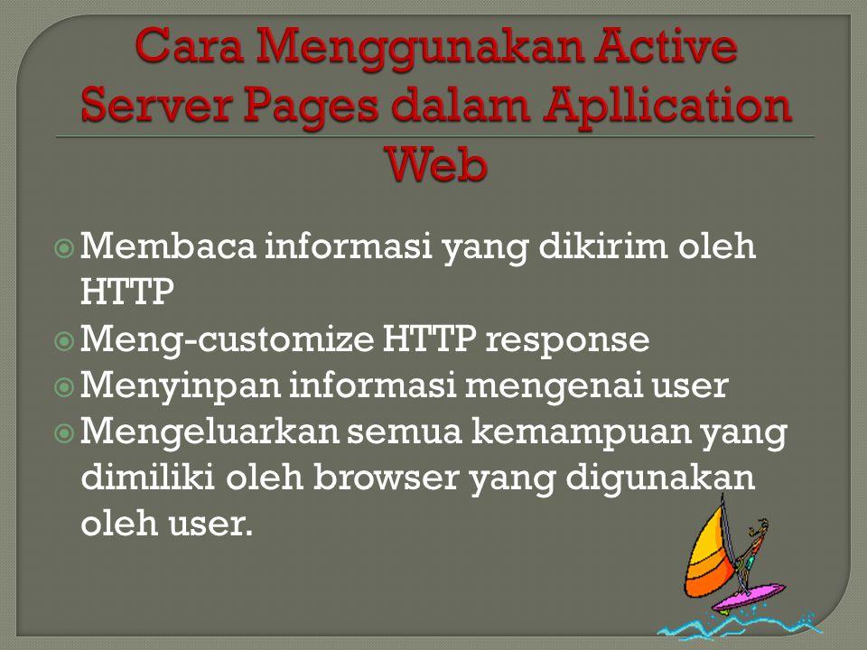  Membaca informasi yang dikirim oleh HTTP  Meng-customize HTTP response  Menyinpan informasi mengenai user  Mengeluarkan semua kemampuan yang dimi