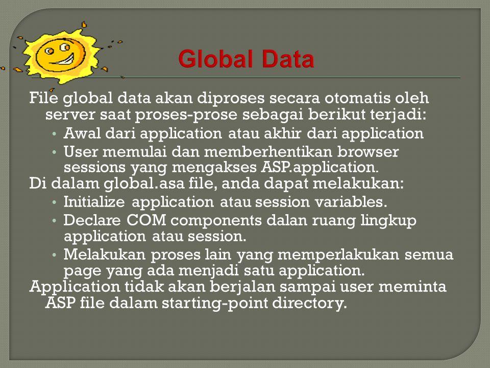 File global data akan diproses secara otomatis oleh server saat proses-prose sebagai berikut terjadi: Awal dari application atau akhir dari applicatio