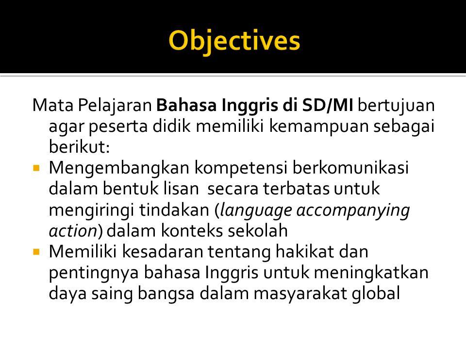 Standard Kompetensi:  Mendengarkan (Memahami instruksi sangat sederhana dengan tindakan dalam konteks kelas) Kompetensi Dasar  Merespon dengan melakukan tindakan sesuai dengan instruksi secara berterima dalam konteks kelas dan dalam berbagai permainan,  Merespon instruksi sangat sederhana secara verbal