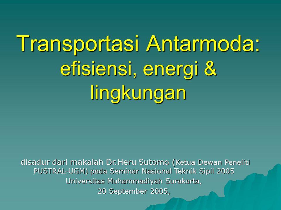 Transportasi Antarmoda: efisiensi, energi & lingkungan disadur dari makalah Dr.Heru Sutomo ( Ketua Dewan Peneliti PUSTRAL-UGM) pada Seminar Nasional Teknik Sipil 2005 disadur dari makalah Dr.Heru Sutomo ( Ketua Dewan Peneliti PUSTRAL-UGM) pada Seminar Nasional Teknik Sipil 2005 Universitas Muhammadiyah Surakarta, 20 September 2005,