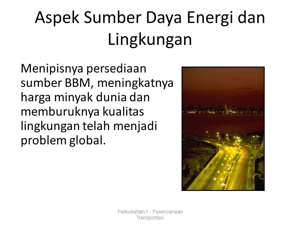 Aspek Sumber Daya Energi dan Lingkungan Menipisnya persediaan sumber BBM, meningkatnya harga minyak dunia dan memburuknya kualitas lingkungan telah menjadi problem global.