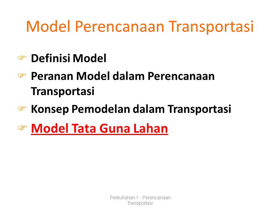 Model Perencanaan Transportasi  Definisi Model  Peranan Model dalam Perencanaan Transportasi  Konsep Pemodelan dalam Transportasi  Model Tata Guna Lahan Perkuliahan 1 - Perencanaan Transportasi