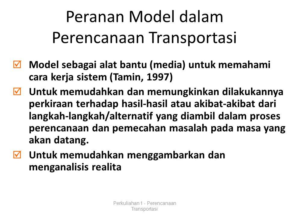 Peranan Model dalam Perencanaan Transportasi  Model sebagai alat bantu (media) untuk memahami cara kerja sistem (Tamin, 1997)  Untuk memudahkan dan memungkinkan dilakukannya perkiraan terhadap hasil-hasil atau akibat-akibat dari langkah-langkah/alternatif yang diambil dalam proses perencanaan dan pemecahan masalah pada masa yang akan datang.