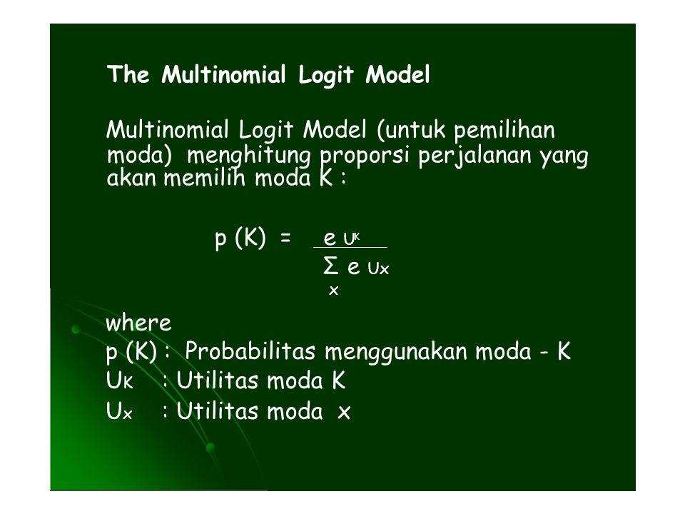 K The Multinomial Logit Model Multinomial Logit Model (untuk pemilihan moda) menghitung proporsi perjalanan yang akan memilih moda K : p (K) = e U Σ e Ux x where p (K) : Probabilitas menggunakan moda - K U K : Utilitas moda K U x : Utilitas moda x