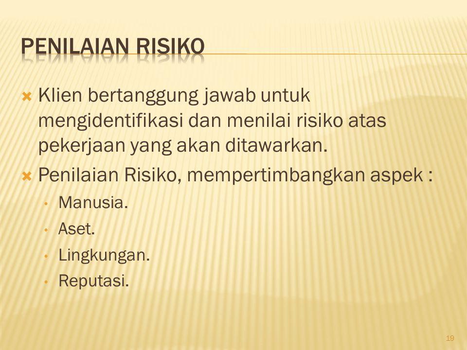  Penentuan Kriteria Resiko kontraktor 20