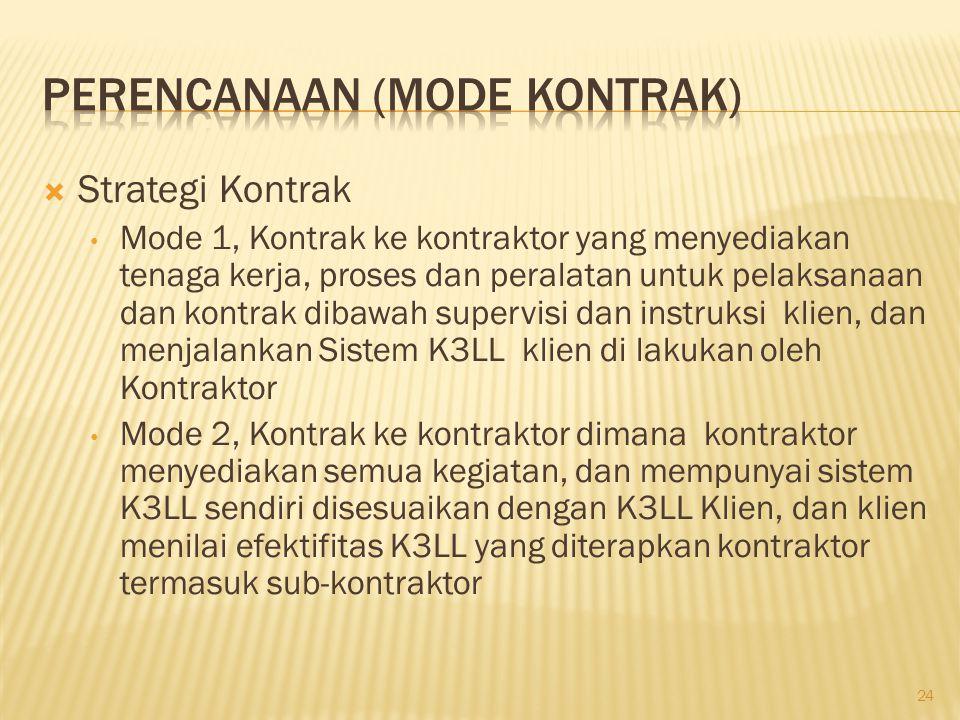  Strategi Kontrak (lanjutan) Mode 3, Kontrak ke kontraktor dimana kontraktor menyediakan semua kegiatan, dan mempunyai sistem K3LL sendiri, dan tidak berhubungan dengan aturan K3LL klien.