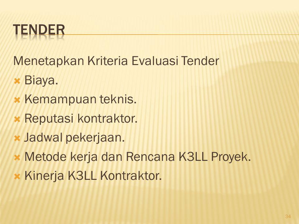 Kriteria K3LL Kontraktor dinilai atas dasar :  Hasil Penilaian langsung K3LL kontraktor.