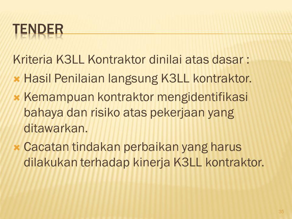 Penilaian Kinerja K3LL Kontraktor :  Kontraktor akan di ikutsertakan pada tahap berikutnya, jika memenuhi standar minimal nilai K3LL berdasarkan resiko pekerjaan  Kontraktor tidak akan diundang untuk mengikuti proses selanjutnya, karena nilai kinerja K3LL tidak memenuhi standar minimum 36