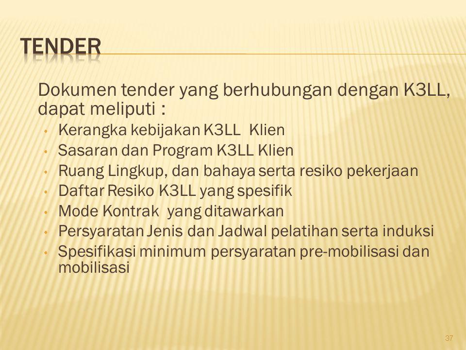 Dokumen Tender yang berhubungan dengan K3LL, meliputi : Persyaratan K3LL yang harus dipenuhi kontraktor, Bahaya dan Risiko pekerjaan.